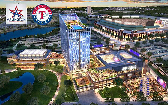 Hotel development rendering with current ballpark